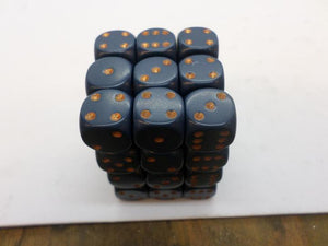 36 x d6 Opaque Dusty Blue/copper