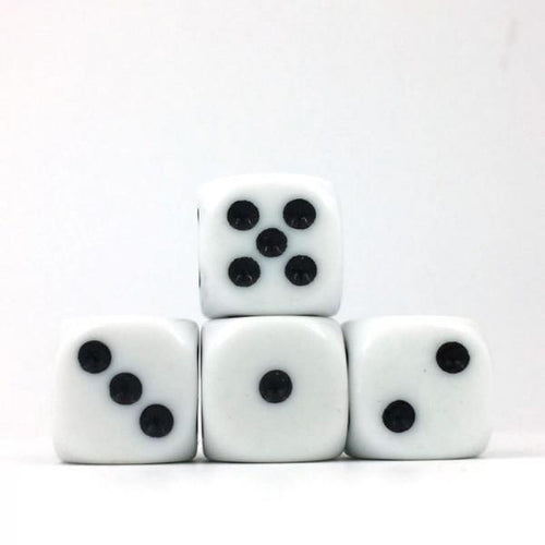 12 x Opaque White d6 with Black pips
