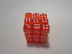 36 x d6 Translucent Orange/white