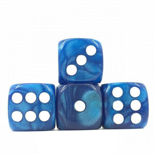 12 x Pearl Blue d6 with White pips