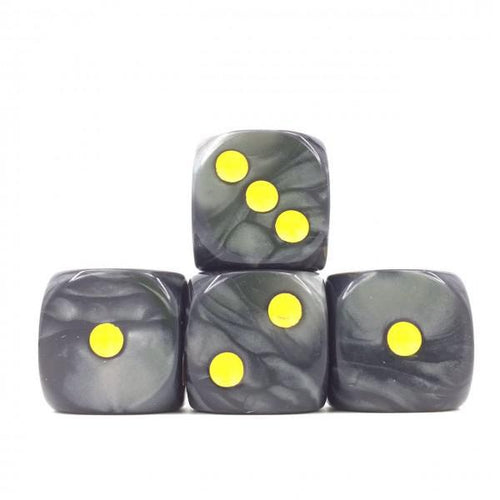 12 x Pearl Black d6 with Yellow pips