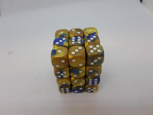 36 x d6 Gemini Blue-Gold/white