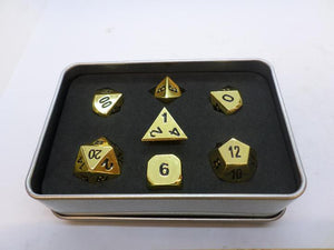Metal Dice Set With Metal Box - Polished Gold