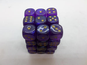 36 x d6 Borealis Royal Purple/gold