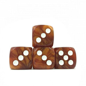 12 x Pearl Brown d6 with White pips
