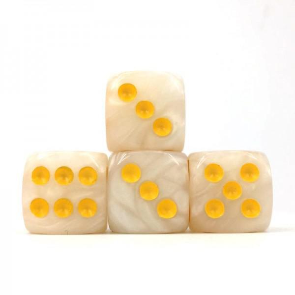 12 x Pearl White d6 with Yellow pips