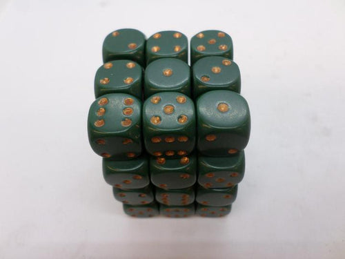 36 x d6 Opaque Dusty Green/copper