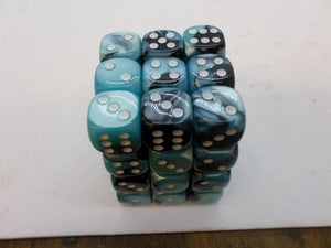 36 x d6 Gemini Black-Shell/white