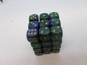 36 x d6 Gemini Blue-Green/gold