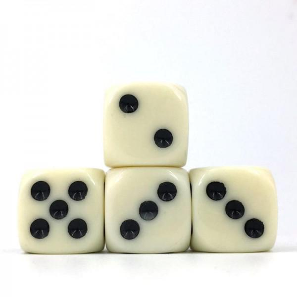 12 x Opaque Ivory d6 with Black pips