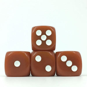 12 x Opaque Brown d6 with White pips