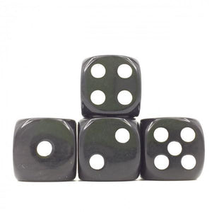 12 x Opaque Black d6 with White pips