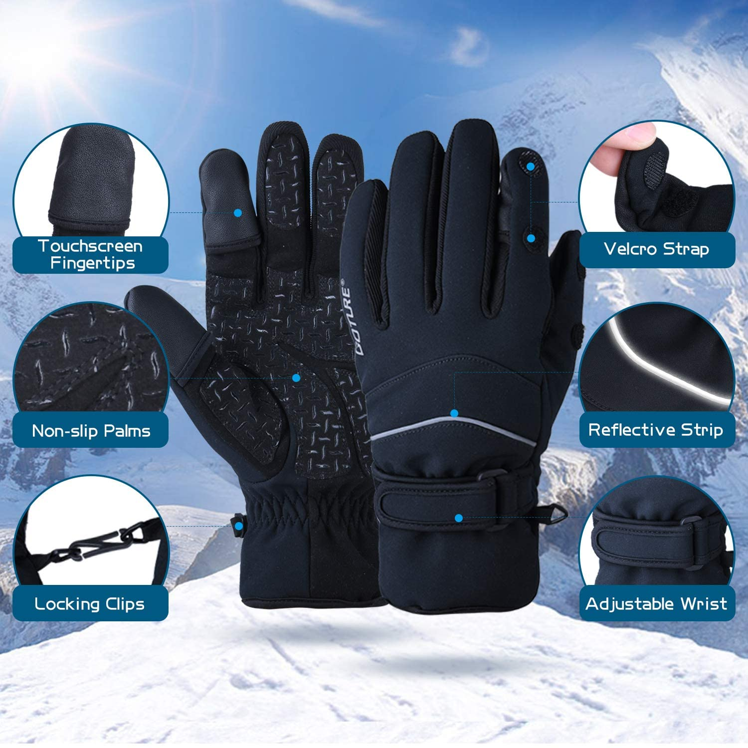 Goture Ice Fishing Gloves////Winter Gloves Men////3M Thinsulate Waterproof Gloves////Touch Screen Finger Cold Weather Gloves Anti-Slip Windproof Gloves for Cycling Running Ski Driving Workout Hiking