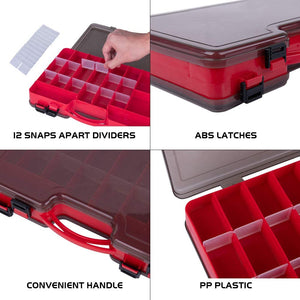 Double-Sided 44 Removable Compartments Plastic Fishing Tackle Box with Handle - GOTURE