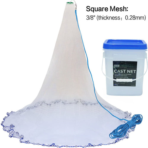 Professional Real Lead Saltwater Heavy Duty Cast Net with Bucket for Bait Trap Fish - GOTURE