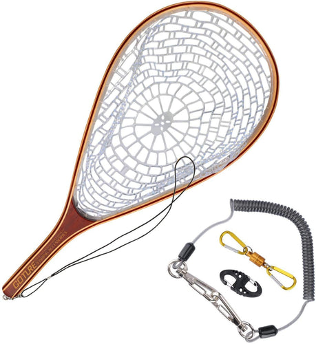 GOTURE Soft Rubber Mesh Wooden Frame Fly Fishing Landing Trout Net