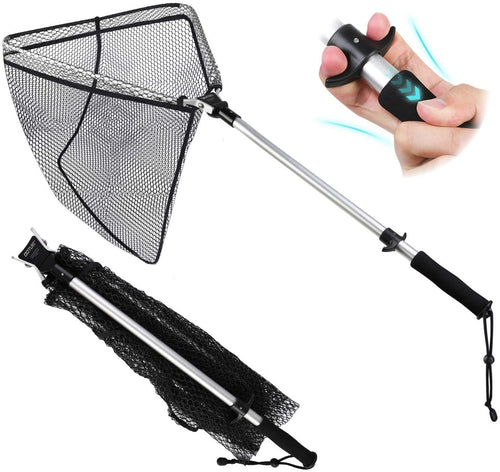 One-Handed Operation Compact Foldable Catching & Releasing Landing Net - GOTURE