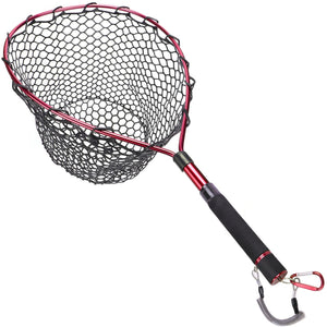 GOTURE Aluminum Alloy Magnetic Clip Soft Rubber Mesh Fly Fishing Landing Net