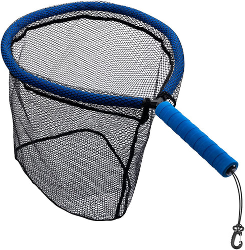 Floating Fly Fishing Landing Net with Detachable EVA Handle, Rubber Mesh