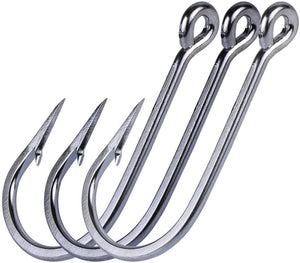 Long Shank Stainless Steel Fishing Hooks, Pack of 10 - GOTURE