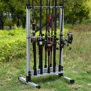 Portable Ultralight Aluminum Alloy Fishing Rod Rack for All Type Fishing Pole, Hold Up to 24 Rods - GOTURE