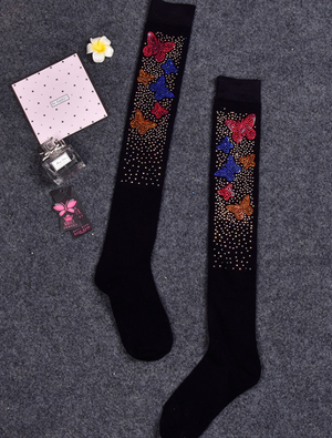 Women Sparkle Rhinestone Embellishment Knee Socks【Buy 2 Free Shipping】
