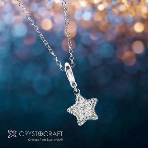 Silver Star Charm Crystal Necklace