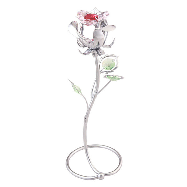 Table Deco - Crystal Rose Figurine Chrome | Crystocraft Online Shop