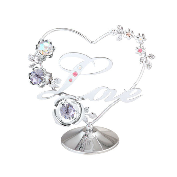 Table Deco - Flowery Heart & Love Crystal Figurine Chrome / Standard | Crystocraft Online Shop