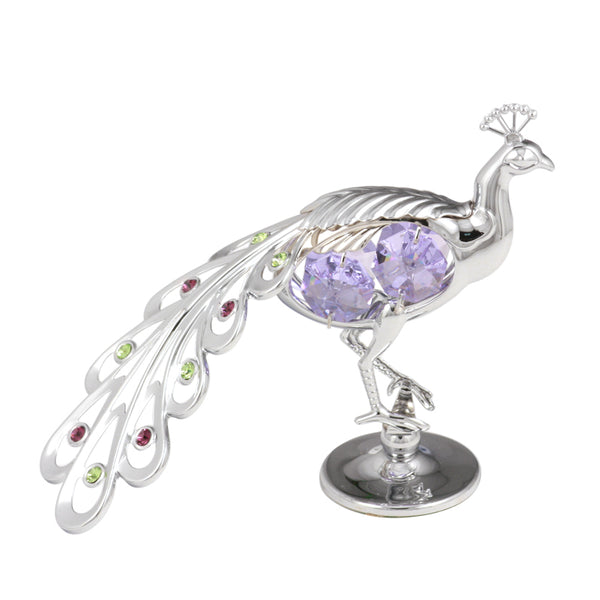 Table Deco - Peacock Figurine Chrome / Standard | Crystocraft Online Shop