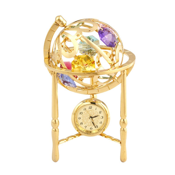 Table Deco - Classic Crystal Globe Mini Clock Figurine Gold | Crystocraft Online Shop