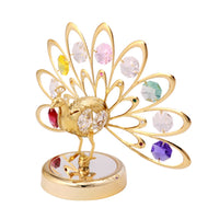 Table Deco - Crystal Fan-out Tail Peacock Figurine Gold / Standard | Crystocraft Online Shop