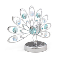 Table Deco - Crystal Fan-out Tail Peacock Figurine chrome / Engrave | Crystocraft Online Shop