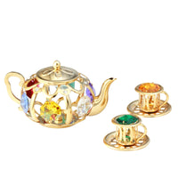 Table Deco - Tea Pot Set Figurine Gold | Crystocraft Online Shop