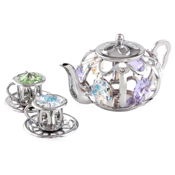 Table Deco - Tea Pot Set Figurine Chrome | Crystocraft Online Shop