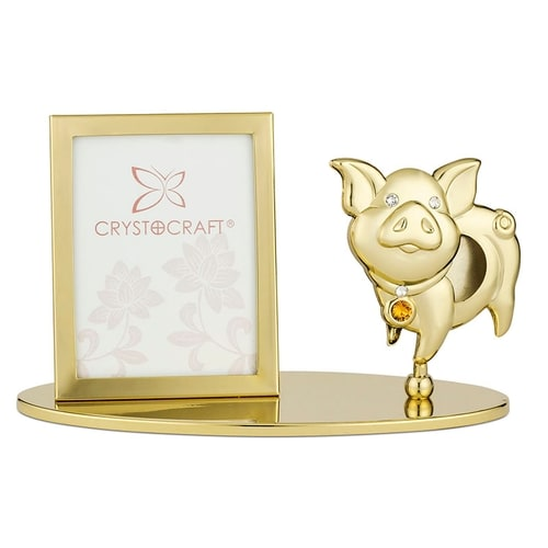 Table Deco - Cute Chinese Zodiac Pig Crystal Photo Frame 1R Standard | Crystocraft Online Shop