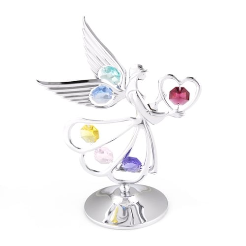 Table Deco - Archangel Crystal Figurine Heart Chrome / Standard | Crystocraft Online Shop