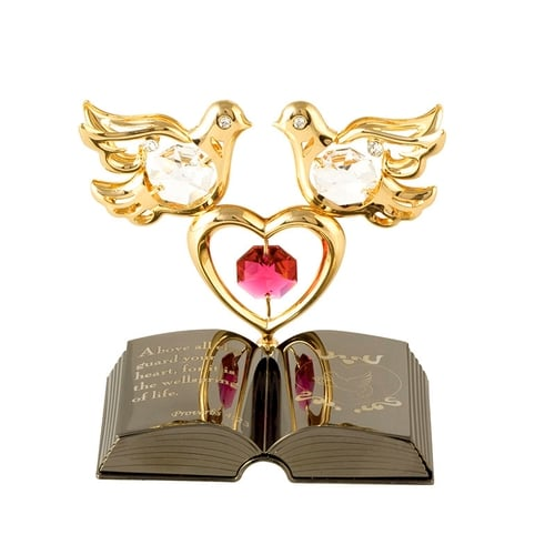 Table Deco - Love Doves on Bible Crystal Figurine  | Crystocraft Online Shop
