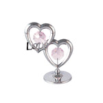 Wedding Gift - I Love You Double Hearts Crystal Figurine Chrome / Standard | Crystocraft Online Shop