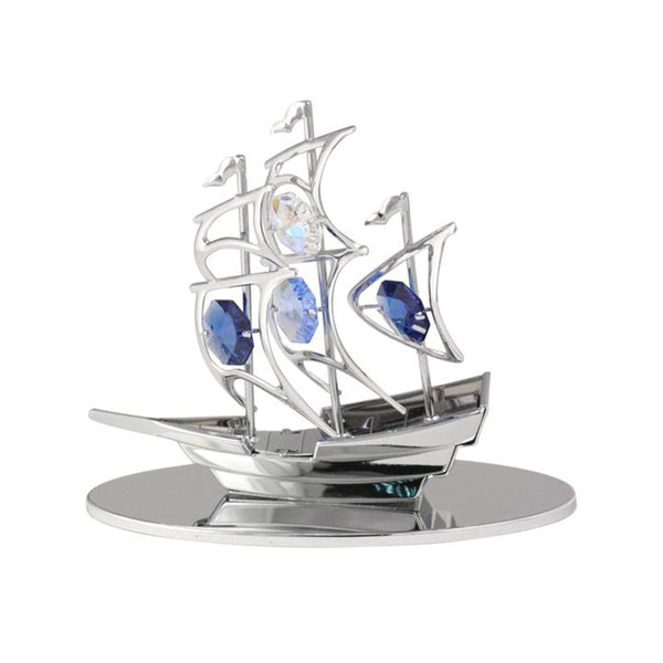Table Deco - Sailboat Figurine Chrome | Crystocraft Online Shop