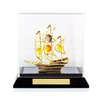 Table Deco - Sailboat Figurine Gold with Acrylic box and laser engrave | Crystocraft Online Shop