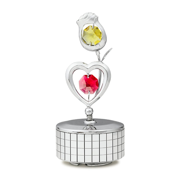Music Box - Heart & Rose Crystal Music Box Standard | Crystocraft Online Shop