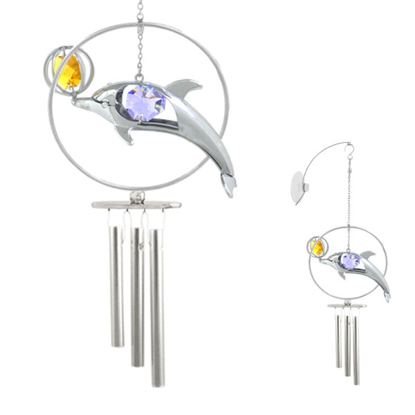 wind chime - Dolphin Playing Ball Crystal Wind Chime Chrome | Crystocraft Online Shop