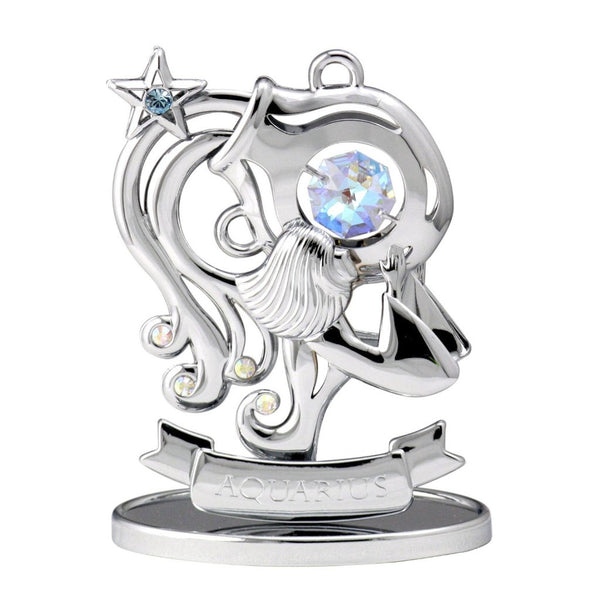 Zodiac - Zodiac Aquarius Crystal Figurine Standard / Chrome | Crystocraft Online Shop