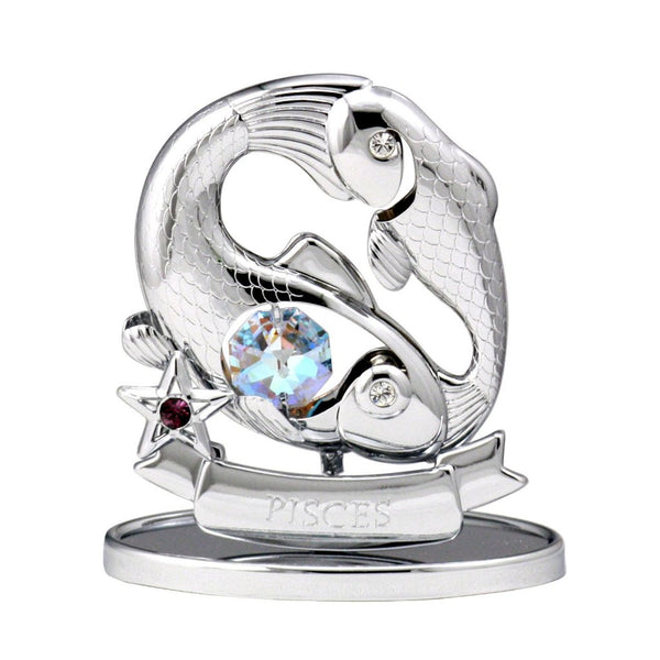 Zodiac - Zodiac Pisces Crystal Figurine Standard / Chrome | Crystocraft Online Shop
