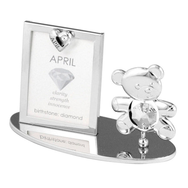 Photo Frame - Teddy Bear figurine Crystal Photo Frame Mini April Birthstone Standard | Crystocraft Online Shop