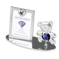 Photo Frame - Teddy Bear figurine Crystal Photo Frame Mini September Birthstone Standard | Crystocraft Online Shop
