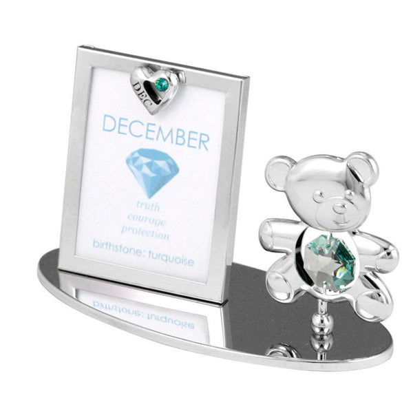 Photo Frame - Teddy Bear figurine Crystal Photo Frame Mini December Birthstone Standard | Crystocraft Online Shop