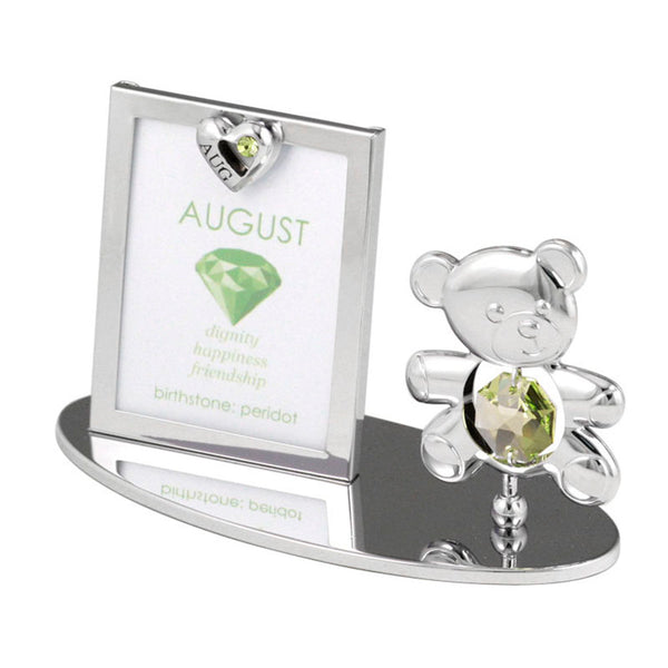 Photo Frame - Teddy Bear figurine Crystal Photo Frame Mini August Birthstone Standard | Crystocraft Online Shop