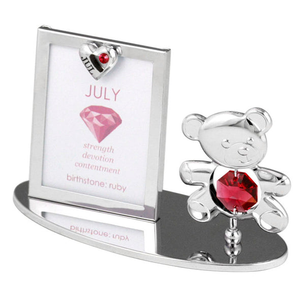 Photo Frame - Teddy Bear figurine Crystal Photo Frame Mini July Birthstone Standard | Crystocraft Online Shop